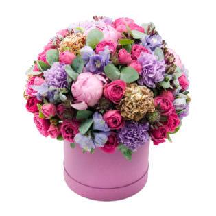 Цветы в коробке «Розовая фантазия»