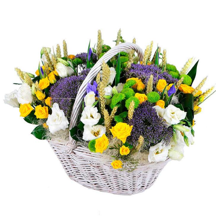 """Цветы в корзинке """"Летняя лужайка"""""""