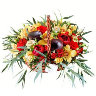 Цветы в корзинке «Рандеву»